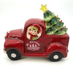 Mr Christmas Ceramic Elf Truck with Light Up Tree